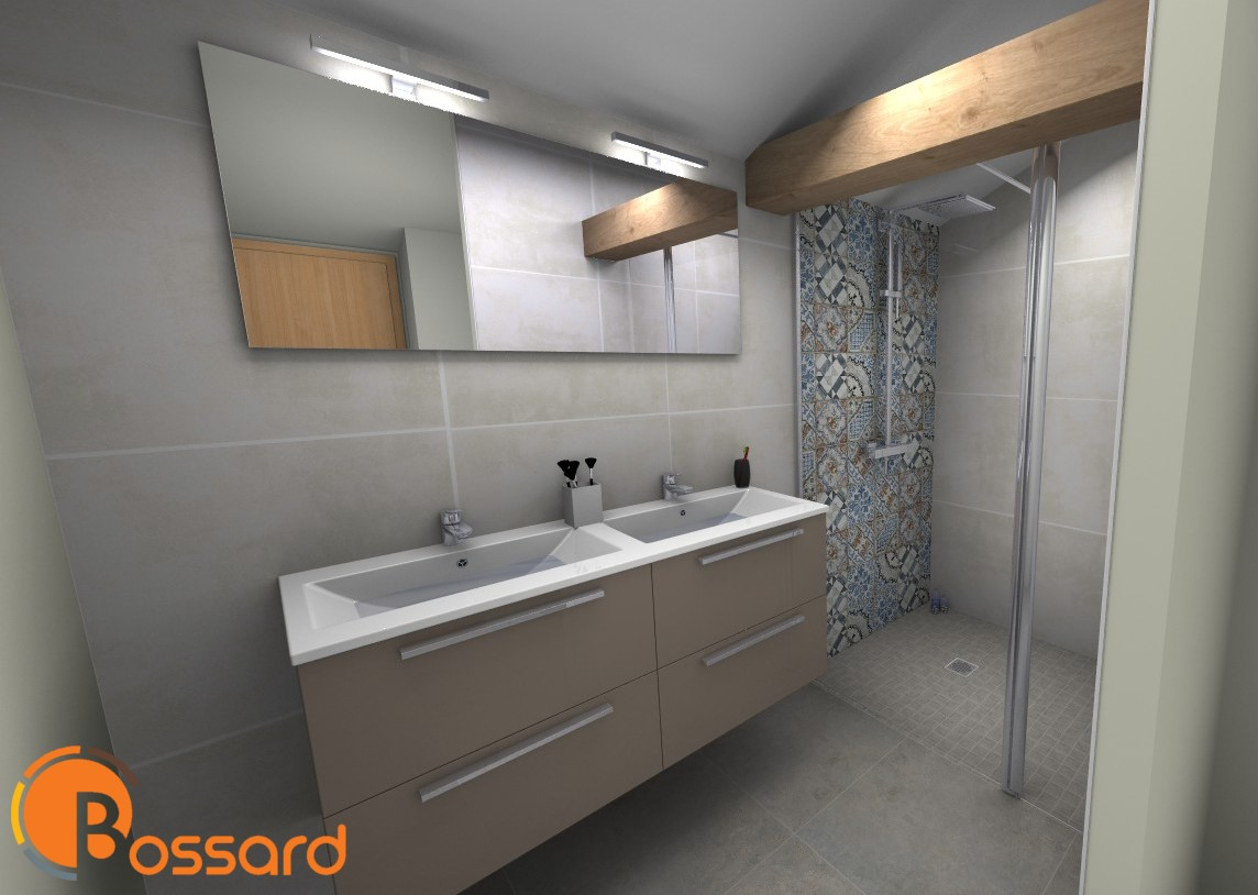 modélisation d'une salle de bain en 3D par les équipes Bossard