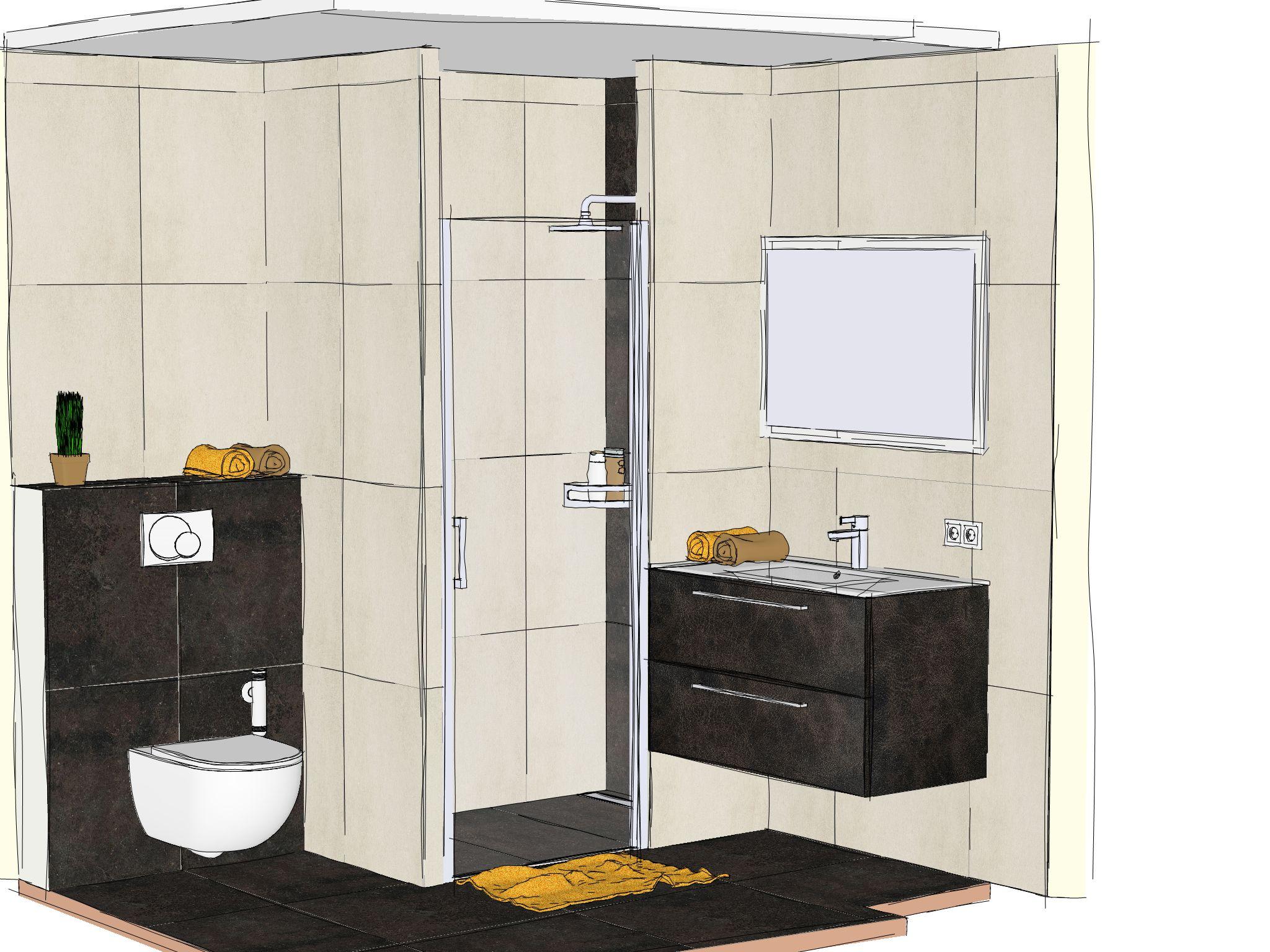 crayonné d'une salle de bain parentale réalisé par les équipes Bossard